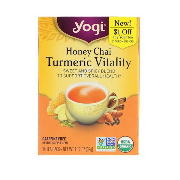 Yogi Tea, Honey Chai, Turmeric Vitality, 16 Tea Bags,  1、12 oz (32 g)