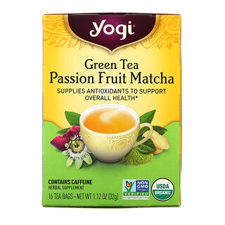 Yogi Tea, Té verde, fruta de la pasión Y matcha, 16 bolsitas de té, 1.12 oz (32 g)