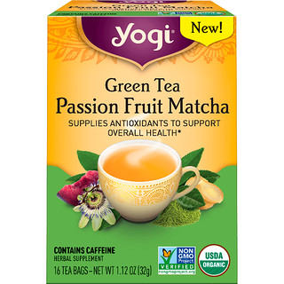 Yogi Tea, Green Tea, Passion Fruit Matcha, 16 Tea Bags, 1.12 oz (32 g)