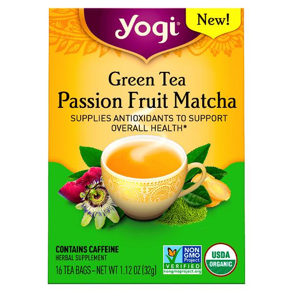 Yogi Tea, شاي أخضر، باشن فروت ماتشا، 16 كيس شاي، 1.12 أونصة (32 غرام)