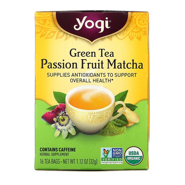 Green Tea, Passion Fruit Matcha, 16 Tea Bags, 1.12 oz (32 g)