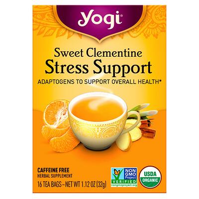 Купить Yogi Tea Поддержка при стрессе, сладкий клементин, без кофеина, 16 чайных пакетиков, 1, 12 унции (32 г)