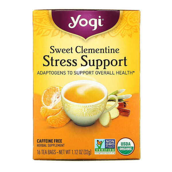 Stress Support, Sweet Clementine, Caffeine Free, 16 Tea Bags, 1.12 oz (32 g)