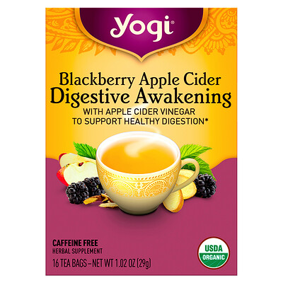 Купить Yogi Tea Digestive Awakening, Blackberry Apple Cider, Caffeine Free, 16 Tea Bags, 1.02 oz (29 g)