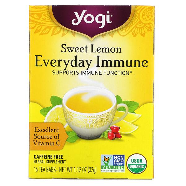 Sweet Lemon Everyday Immune, Caffeine Free, 16 Tea Bags, 1.12 oz (32 g) Each