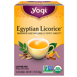 Yogi Tea, Egyptian Licorice, Caffeine Free, 16 Tea Bags, 1.27 oz (36 g)