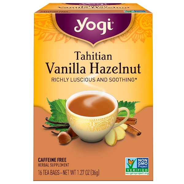 Yogi Tea, Tahitian Vanilla Hazelnut, Caffeine Free, 16 Tea Bags, 1.27 oz (36 g) (Discontinued Item)