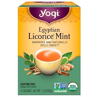 Yogi Tea, エジプトリコリス(甘草)ミント, カフェインフリー, 16ティーバッグ, 1.12オンス(32 g)