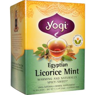Yogi Tea, Egyptian Licorice Mint, Caffeine Free, 16 Tea Bags, 1.12 oz (32 g)