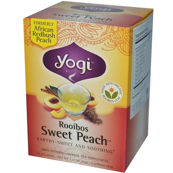 Yogi Tea, Rooibos Sweet Peach, Caffeine Free, 16 Tea Bags, 1.27 oz (36 g) (Discontinued Item)