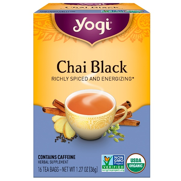 Yogi Tea, Chai Black, Caffeine, 16 Tea Bags, 1.27 oz (36 g) (Discontinued Item)