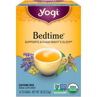 Yogi Tea, Organic, Bedtime, Caffeine Free, 16 Tea Bags, .85 oz (24 g)