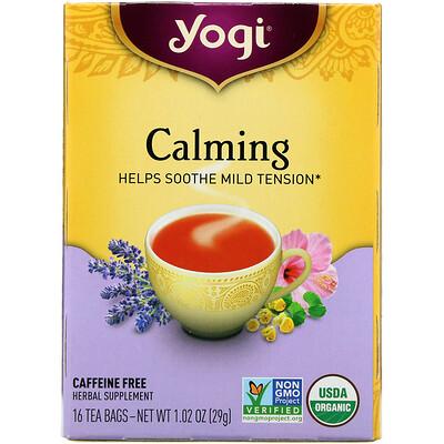 Органический, успокаивающий, без кофеина, 16 чайных пакетиков, 1.02 унций (29 г) органические куркума таволга и имбирь 16 изолированных чайных пакетиков 1 13 унций 32 г