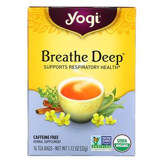 Yogi Tea, Breathe Deep 呼吸支持草本茶,无咖啡萃取,16 茶包,1.12 盎司(32 克)