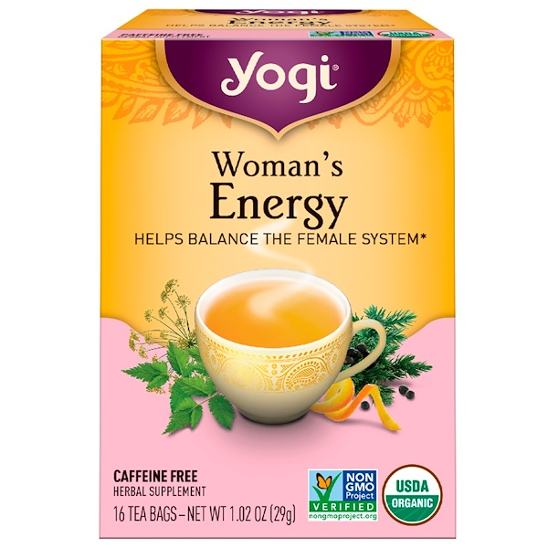 Yogi Tea, Woman's Energy, Caffeine Free, 16 Tea Bags, 1.02 oz (29 g)