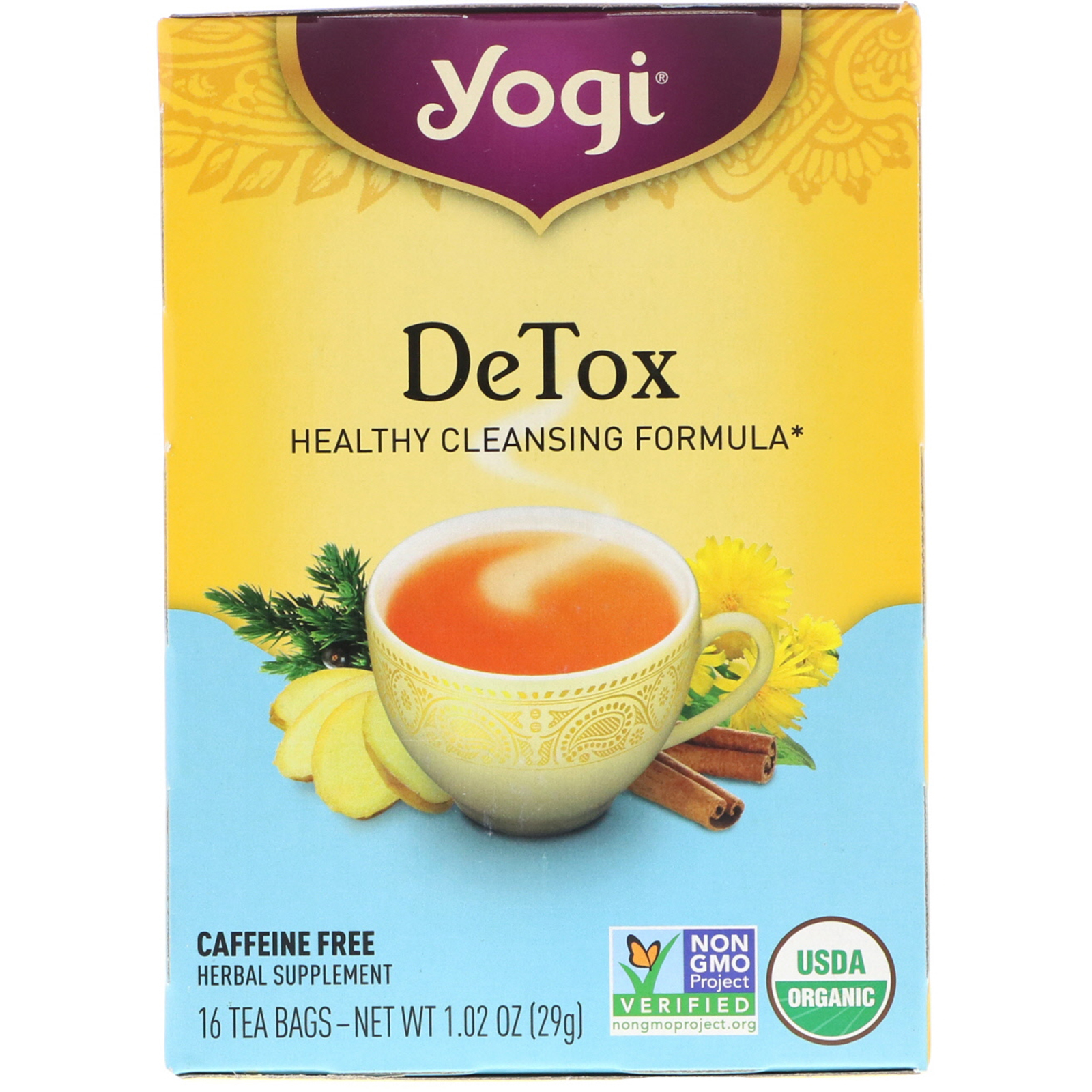 yogi tea 解毒 カフェインフリー 16ティーバッグ 1 02オンス 29 g