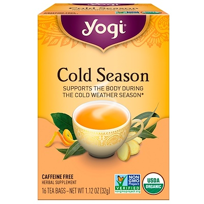 Купить Органический, Cold Season, без кофеина, 16 чайных пакетиков, 1.12 унций (32 г)