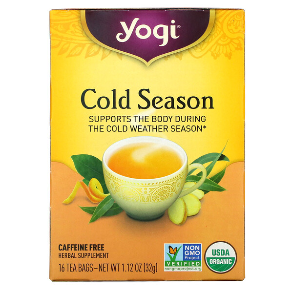 Yogi Tea, Organic, Cold Season, Caffeine Free, 16 Tea Bags, 1.12 oz (32 g)
