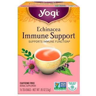 Yogi Tea, エキナセア免疫サポート, カフェインサポート, 16ティーバッグ, 0.85オンス(24 g)