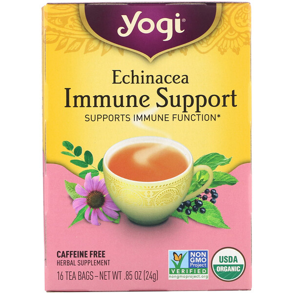 Yogi Tea, Immune Support с эхинацеей, без кофеина, 16 чайных пакетиков, 24 г