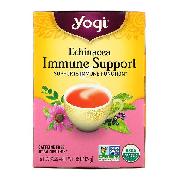 エキナセア免疫サポート、カフェインサポート、ティーバッグ16袋、24g(0.85オンス)