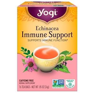 Yogi Tea, Чай для иммунной поддержки с эхинацеей без кофеина, 16 чайных пакетиков, 0.85 унций (24 г)
