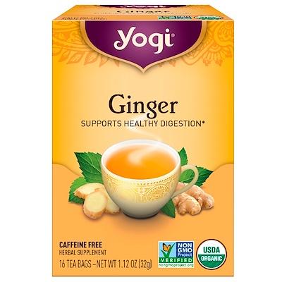 Органический имбирный чай, без кофеина, 16 чайных пакетиков, 32 г (1,12 унции)