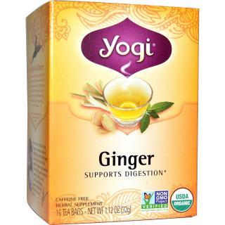 Yogi Tea, Organic Ginger, Caffeine Free, 16 Tea Bags, 1.12 oz (32 g)