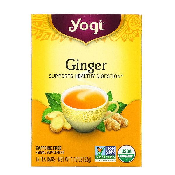 Organic Ginger, Caffeine Free, 16 Tea Bags, 1.12 oz (32 g)