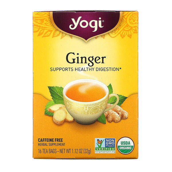 Yogi Tea, Organic Ginger, 16 Tea Bags, 1.12 oz (32 g)