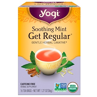 Yogi Tea, Get Regular, Soothing Mint, Caffeine Free, 16 Tea Bags, 1.27 oz (36 g)