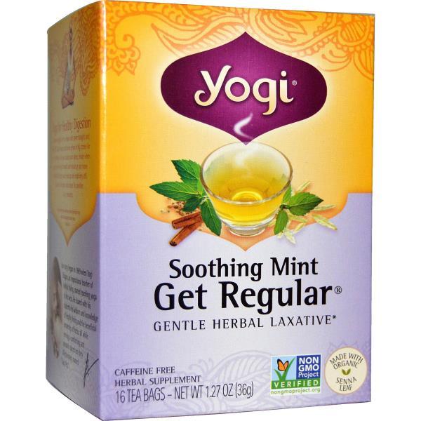 Yogi Tea, Get Regular, Soothing Mint, Caffeine Free, 16 Tea Bags, 1.27 oz (36 g)