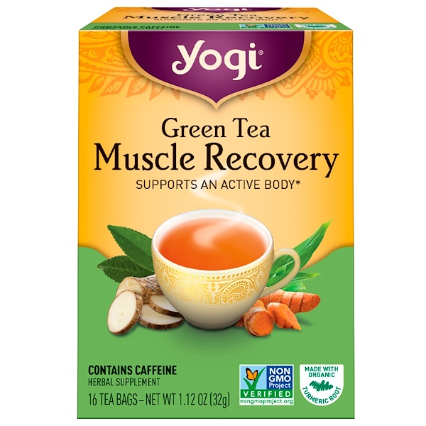 Yogi Tea, Green Tea, Muscle Recovery, 16 Tea Bags, 1.12 oz (32 g) (Discontinued Item)