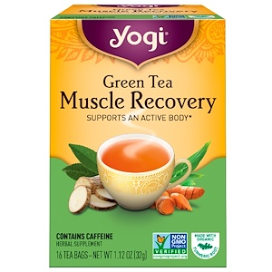 Йоги Ти, Green Tea, Muscle Recovery, 16 Tea Bags, 1.12 oz (32 g) отзывы покупателей