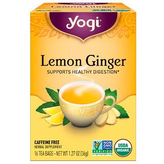 Yogi Tea, レモンジンジャー, カフェインフリー, 16ティーバッグ, 1.27オンス(36 g)