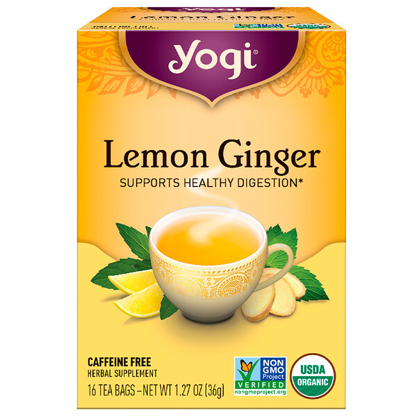 Lemon Ginger, Caffeine Free, 16 Tea Bags, 1.27 oz (36 g)