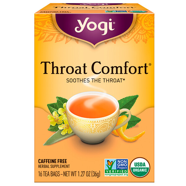 Organic, Throat Comfort, Caffeine Free, 16 Tea Bags, 1.27 oz (36 g)