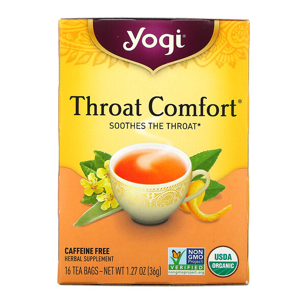 Yogi Tea, Throat Comfort, Caffeine Free, 16 Tea Bags, 1.27 oz (36 g)