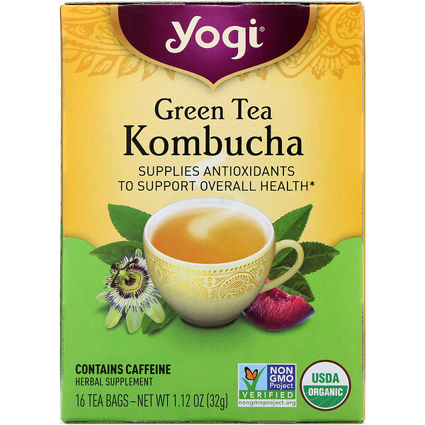 Organic, Green Tea Kombucha, 16 Tea Bags, 1.12 oz (32 g)