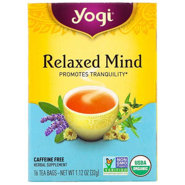 Yogi Tea, Organic Relaxed Mind, Caffeine Free, 16 Tea Bags, 1.12 oz (32 g)