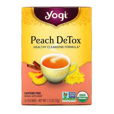 Yogi Tea Peach DeTox, Caffeine Free, 16 Tea Bags, 1.12 oz (32 g)