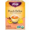 Yogi Tea, DeTox персик, без кофеина, 16чайных пакетиков, 32г