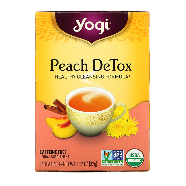 Yogi Tea, Peach DeTox(ピーチデトックス)、カフェインフリー、ティーバッグ16袋、32g(1.12オンス)