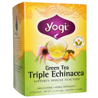 Yogi Tea, Green Tea Triple Echinacea, 16 Tea Bags, 1.12 oz (32 g)