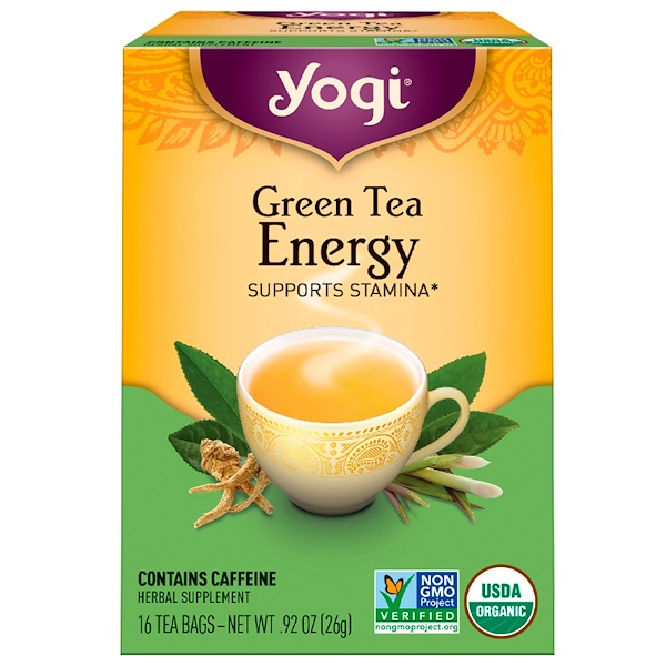 Yogi Tea, Organic, Green Tea Energy, 16 Tea Bags, .92 oz (26 g) (Discontinued Item)