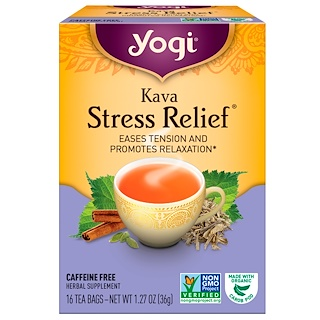 Yogi Tea, Kava Stress Relief, Caffeine Free, 16 Tea Bags, 1.27 oz (36 g)