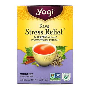 Yogi Tea, Kava Stress Relief, Caffeine Free, 16 Tea Bags, 1.27 oz (36 g)