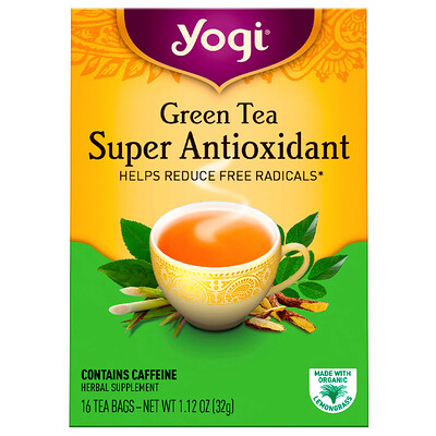Зеленый чай, Super Antioxidant, 16 чайных пакетиков, 1,12 унции (32 г) benefits обновление куркума чили матча зеленый чай 18 чайных пакетиков 1 15 унц 32 г