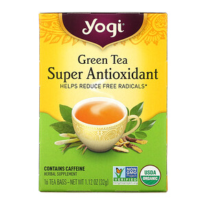Йоги Ти, Green Tea Super Antioxidant, 16 Tea Bags, 1.12 oz (32 g) отзывы покупателей