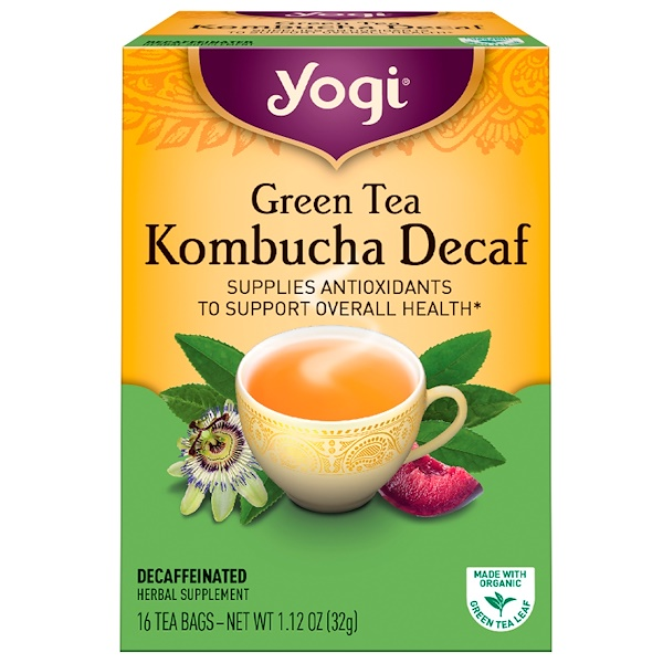 Yogi Tea, Green Tea Kombucha Decaf, 16 Tea Bags, 1.12 oz (32 g) (Discontinued Item)